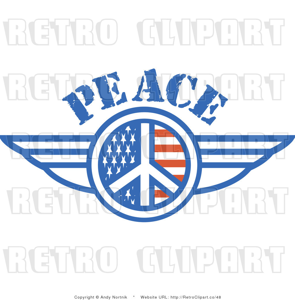 b284de1d0 Royalty Free Retro Vector Clip Art of a Winged Peace Symbol by Andy ...