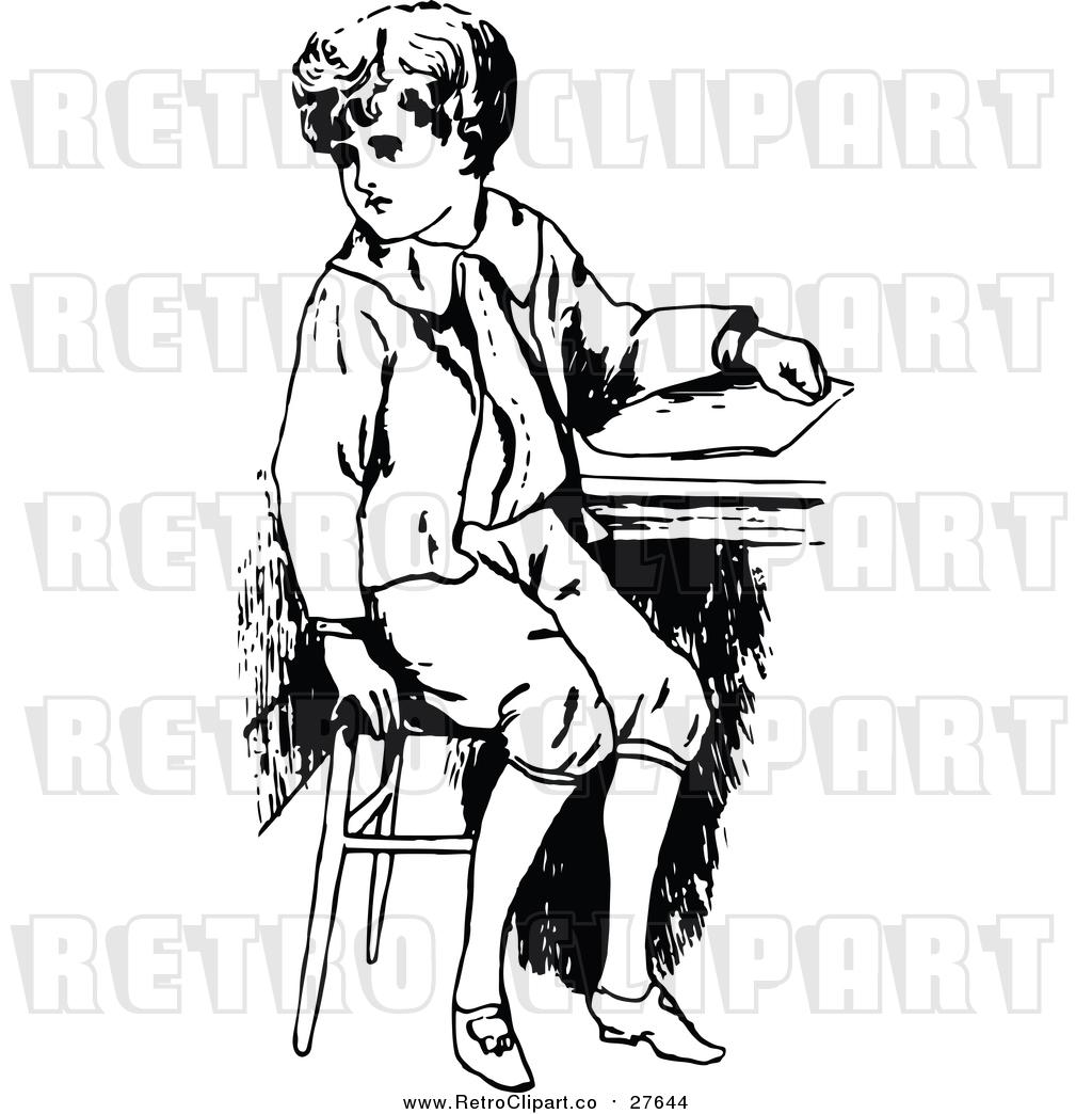 Vector Clip Art of a Retro Boy Sitting at School Desk by ...