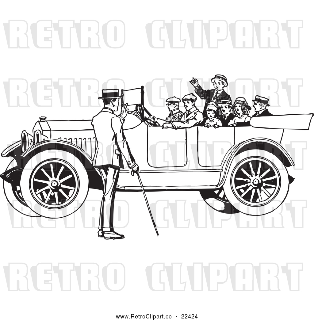 Vector Clip Art of a Retro Family in a Old Convertible Car by ...