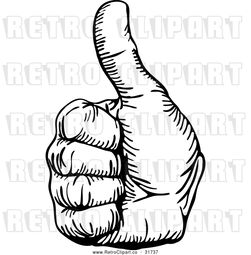 Vector Clip Art Of A Retro Hand Gesturing Thumb Up In Black Outline