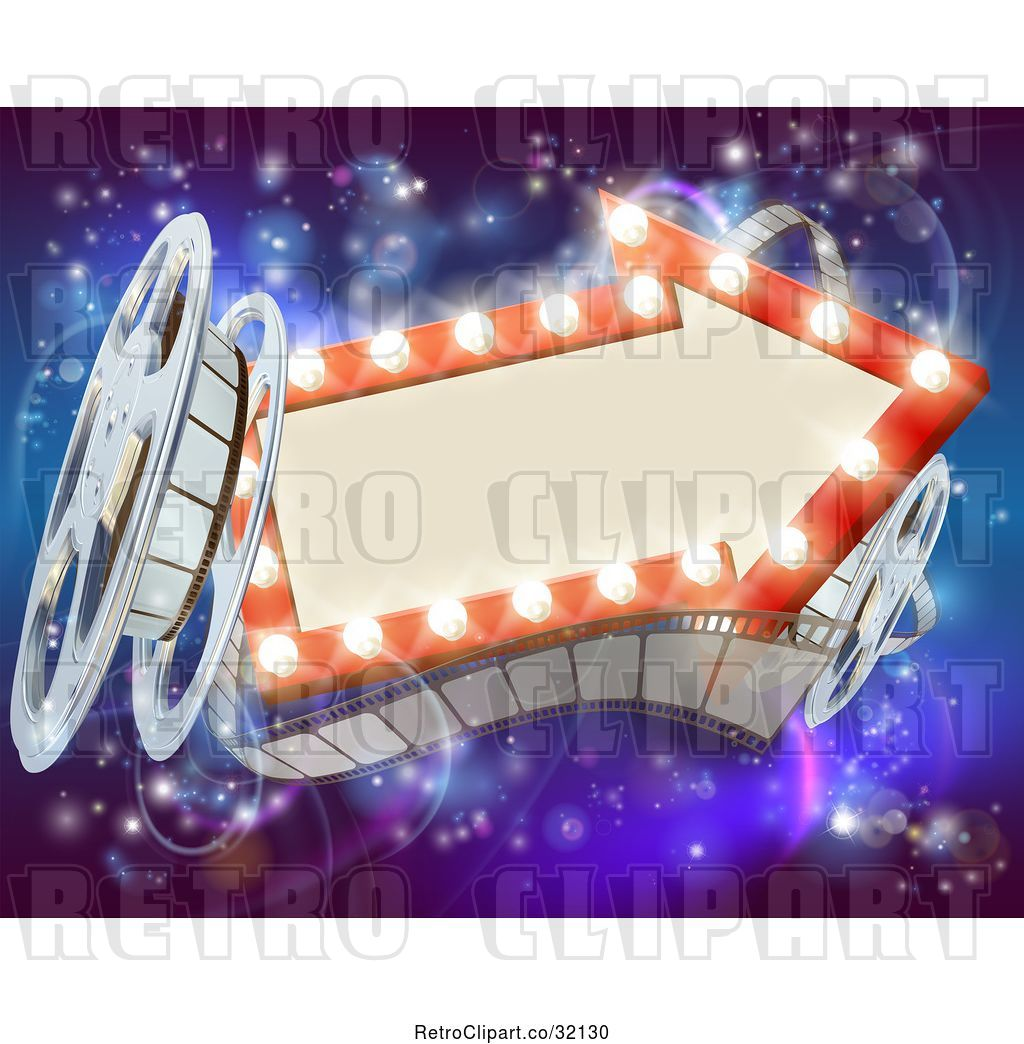 Vector Clip Art of Retro Arrow Marquee Theater Sign with Light Bulbs