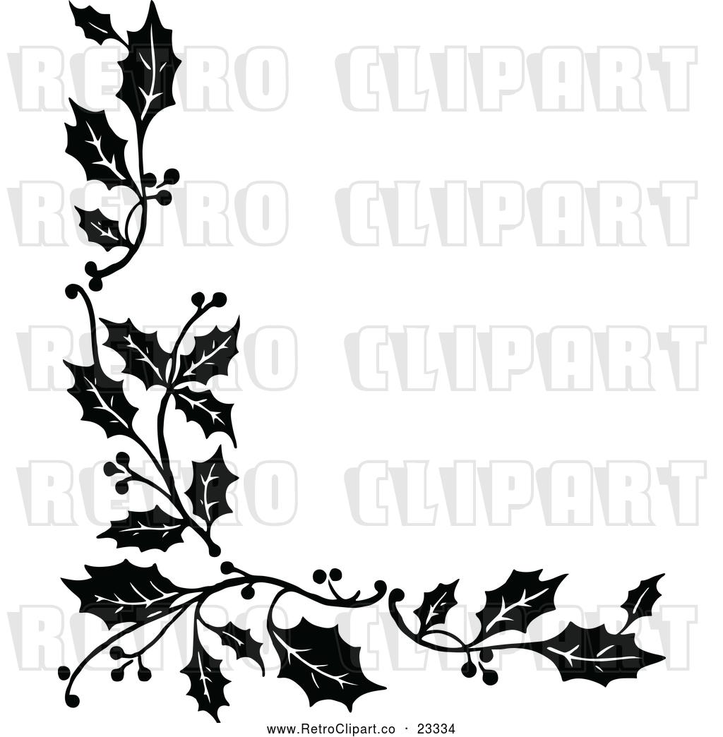 Christmas Holly Border Clipart.Vector Clip Art Of Retro Corner Border Of Christmas Holly