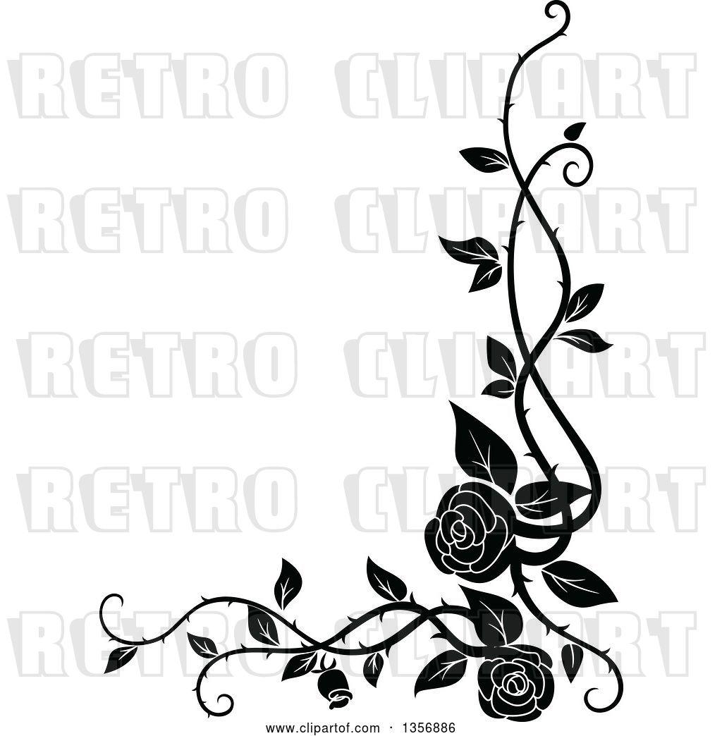 Vector Clip Art Of Retro Corner Floral Rose Vine Border Design