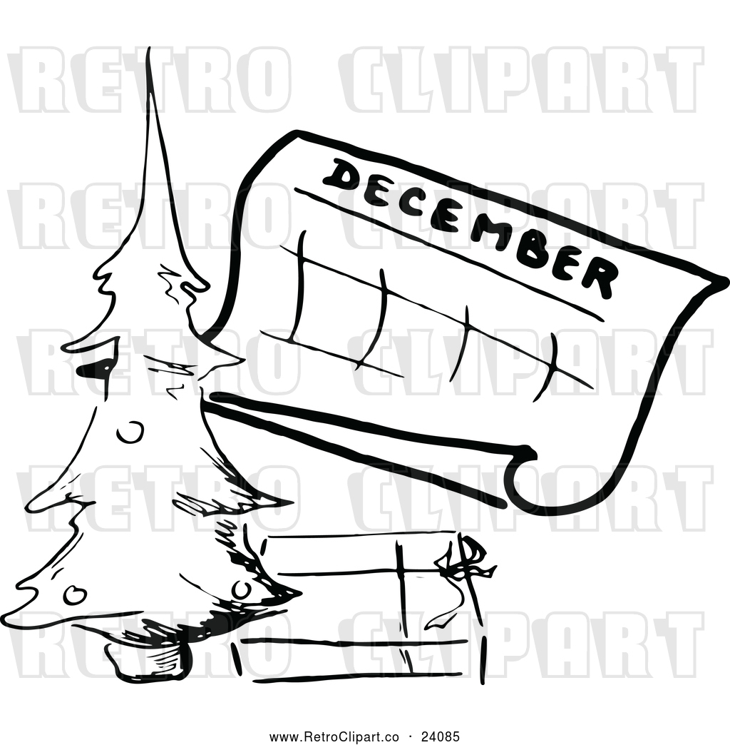 December Calendar Art : Vector clip art of retro december calendar with a christmas tree