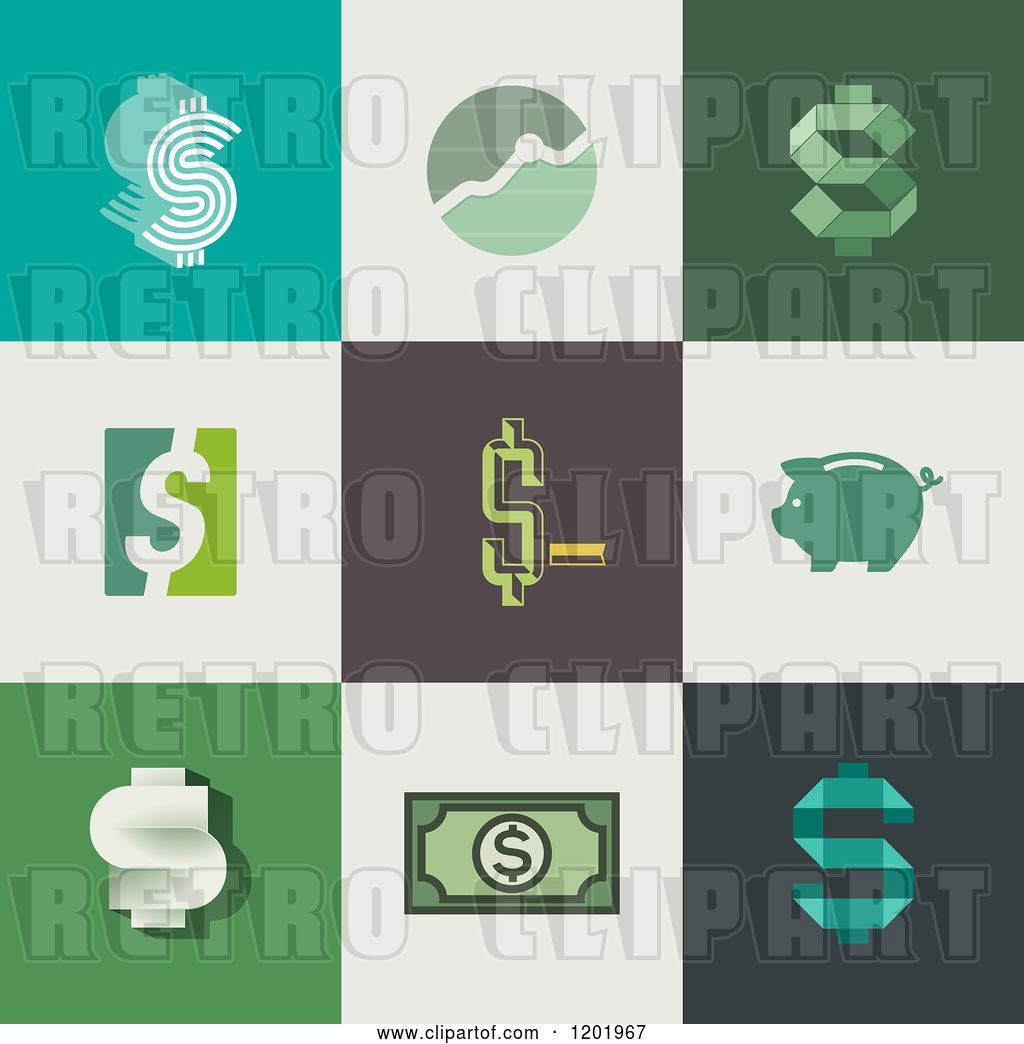 Retro Bank Design.Vector Clip Art Of Retro Different Styled Dollar Symbol Graph And