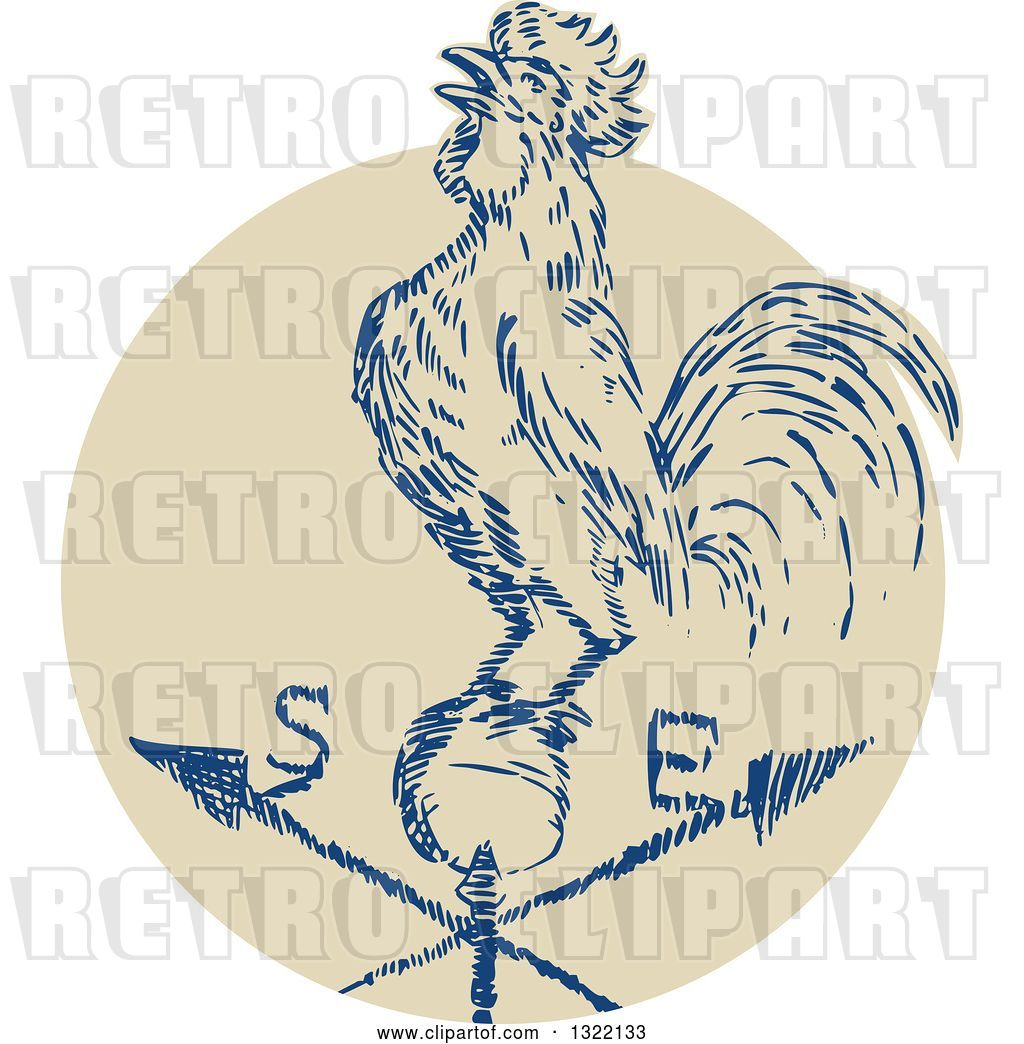 Vector Illustration Rooster Weather Vane. Black Silhouette Rooster,..  Royalty Free Cliparts, Vectors, And Stock Illustration. Image 54601574.