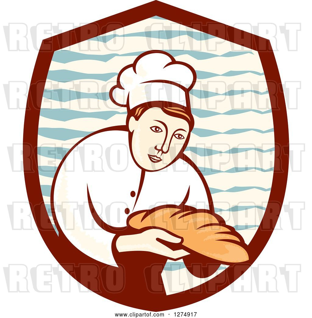 Vector Clip Art Of Retro Female Baker Holding Out Bread In A Shield By Patrimonio 44437