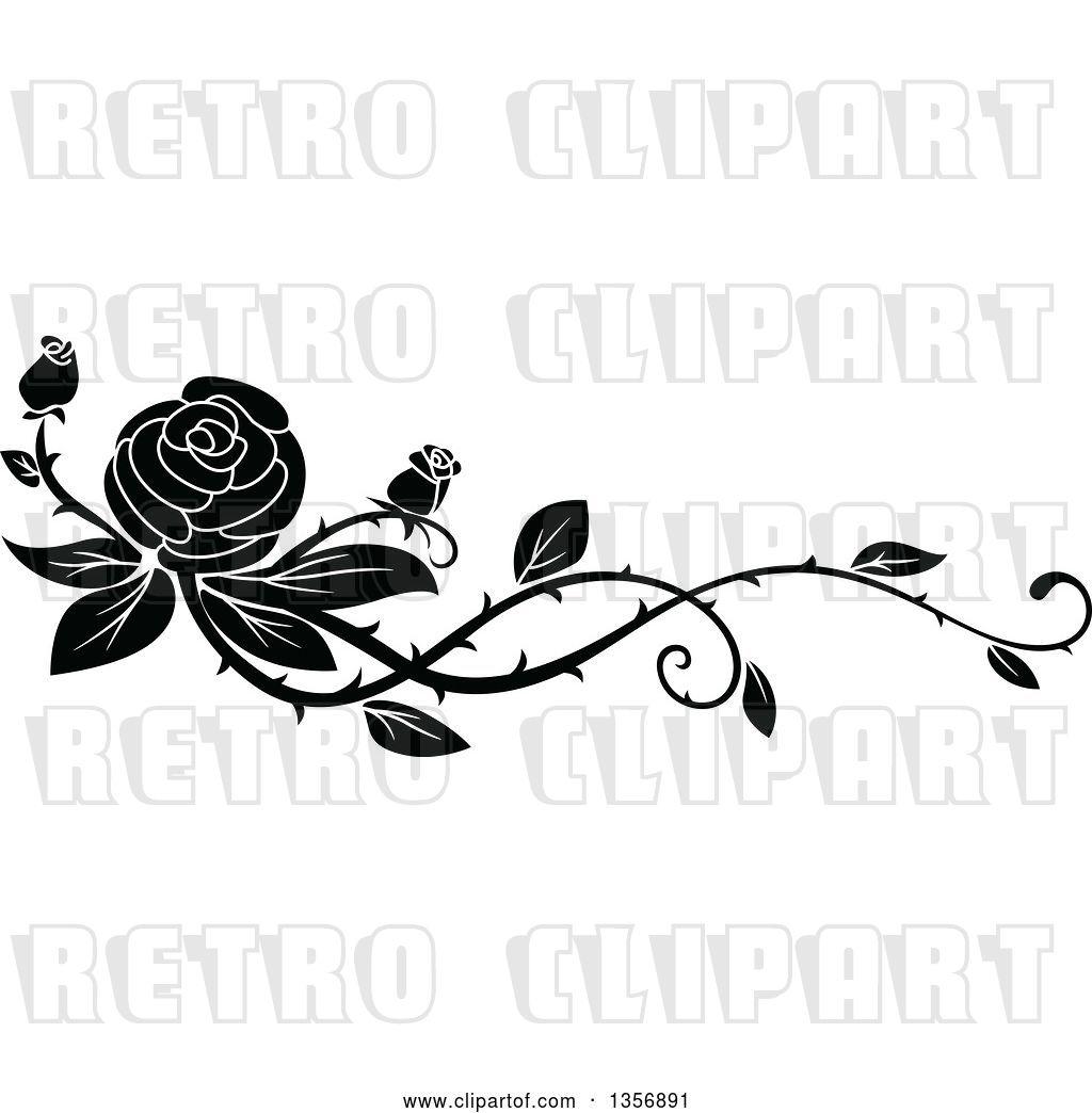 Vector Clip Art Of Retro Floral Rose Vine Border Design Element By