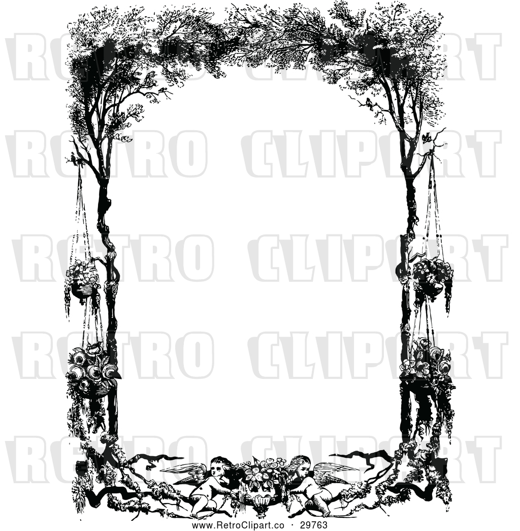 Vector Clip Art Of Retro Frame Cherubs Hanging Flowers And Trees