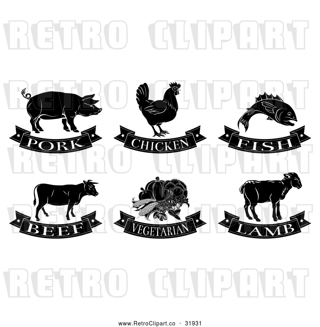 Vector Clip Art of Retro Human Food: Pork, Chicken, Fish, Beef ... for Beef Clipart Black And White  54lyp