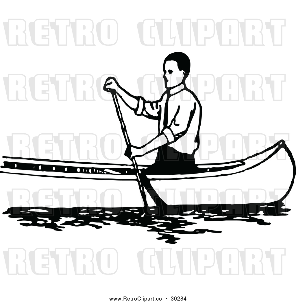 Vector Clip Art Of Retro Man Canoeing 1 Black And White