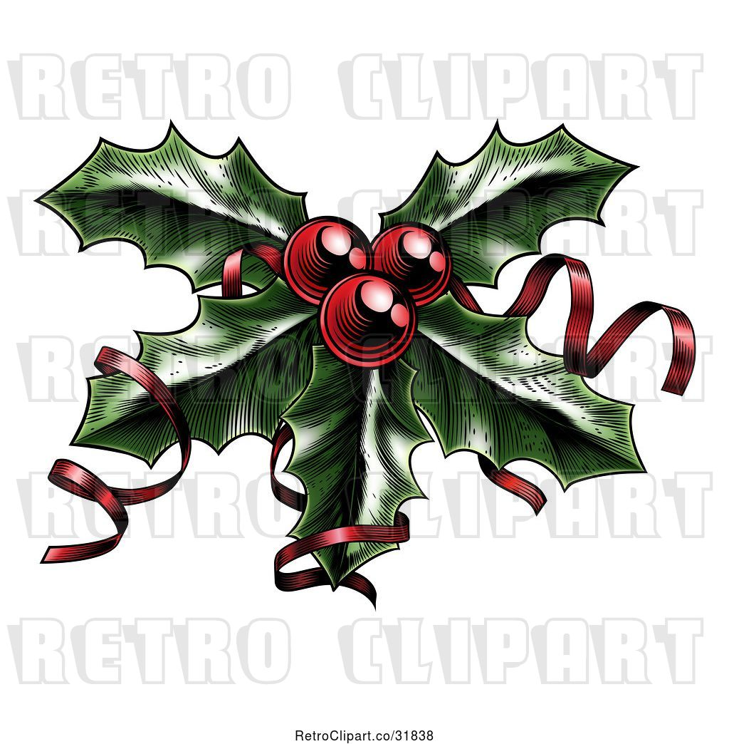 Christmas Holly Clip Art.Vector Clip Art Of Retro Sprig Of Christmas Holly With Red