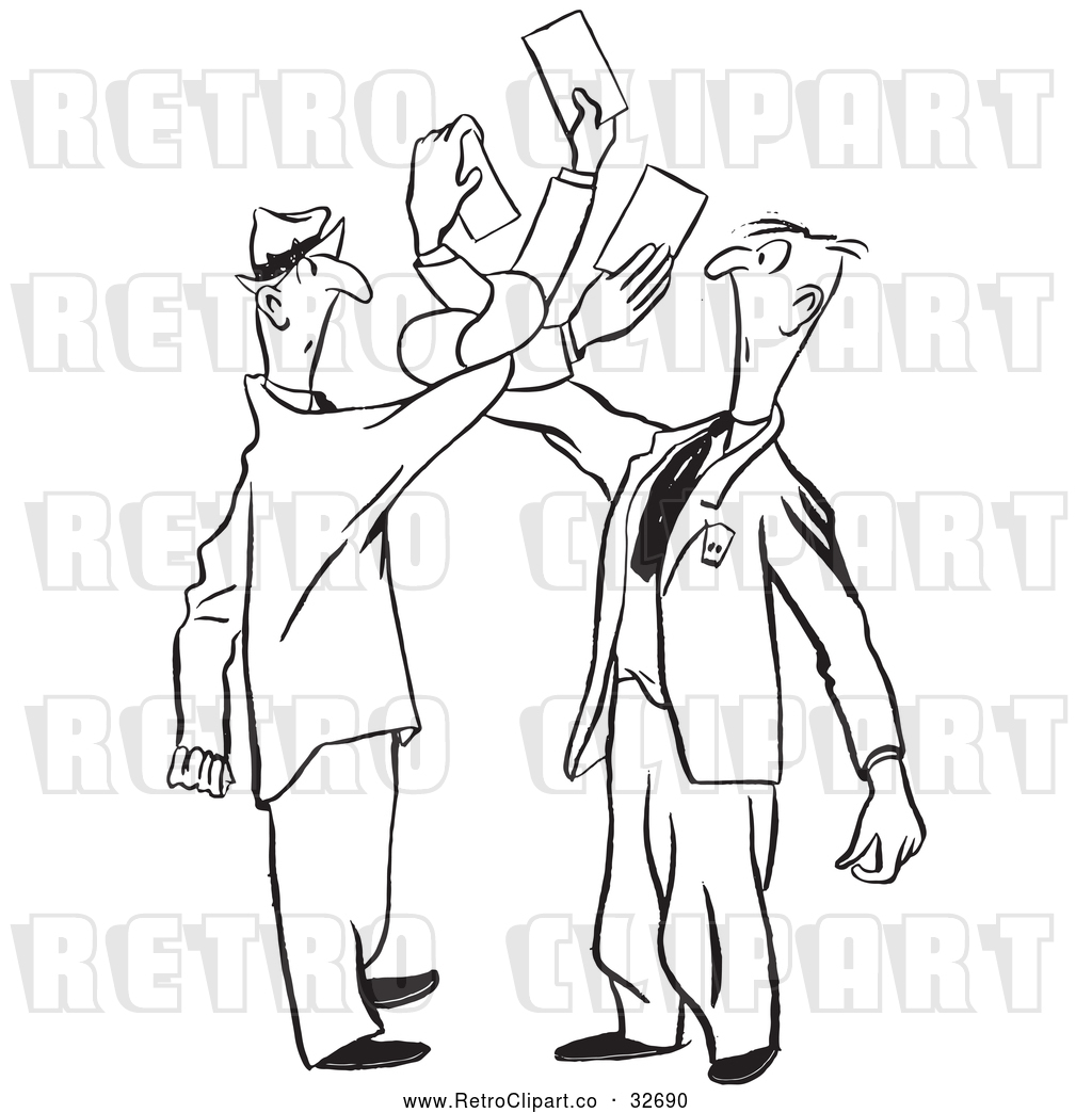 Vector Clip Art of Tangled Retro Men Trying to Exchange Business ...