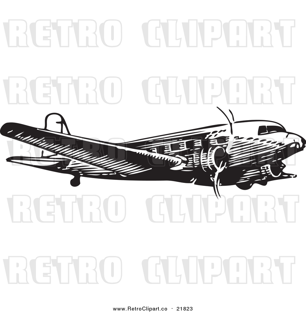 Vector Clipart of a Retro Black and White Plane by ...
