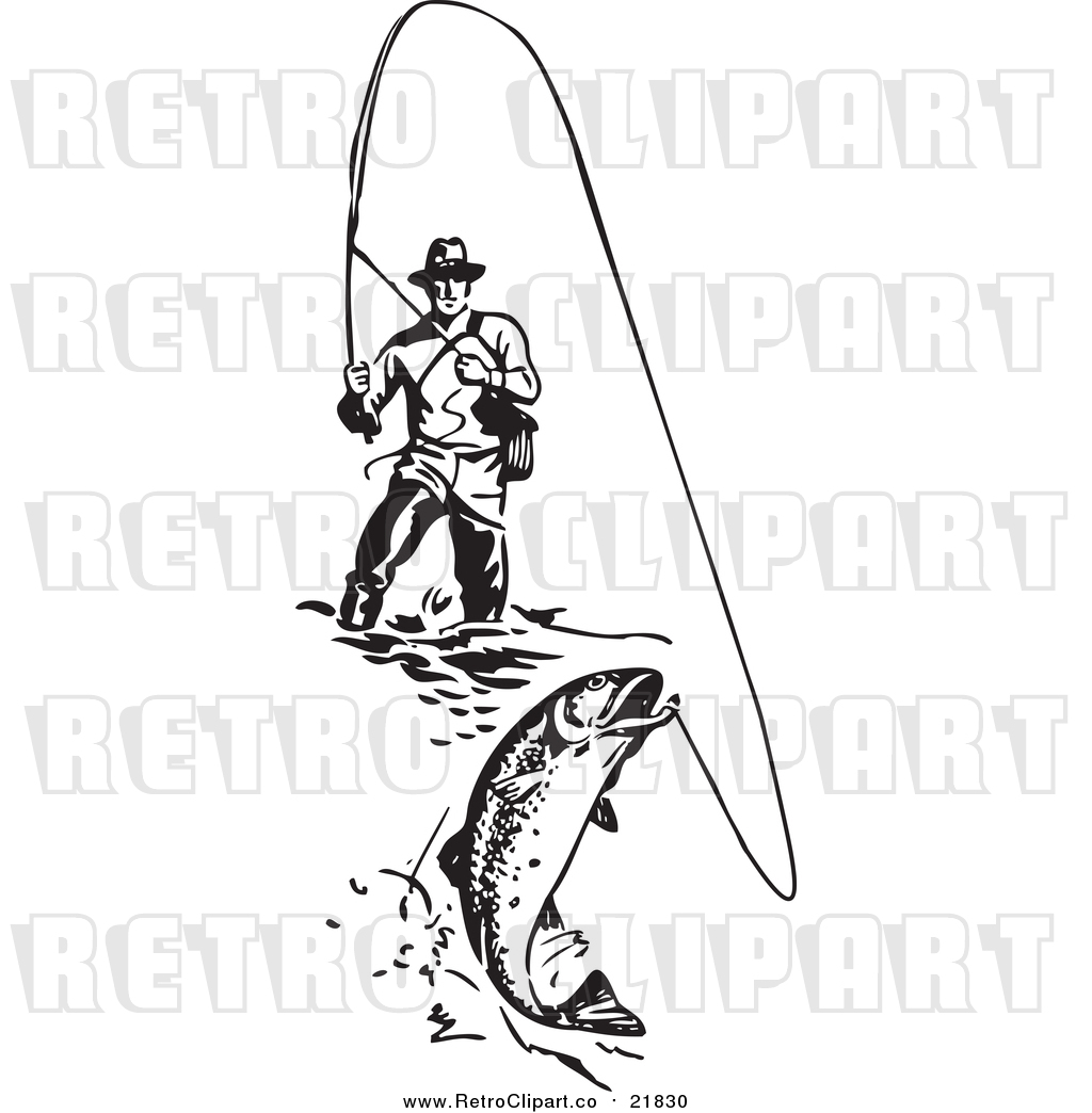 Vector Clipart Of A Retro Wading Fisherman Reeling In A