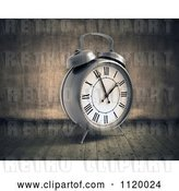 Clip Art of Retro 3d Alarm Clock in a Grungy Room by Mopic