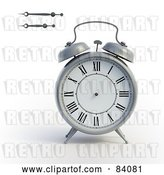 Clip Art of Retro 3d Alarm Clock with the Minute and Hour Hands to the Side by Mopic