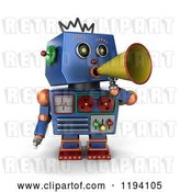 Clip Art of Retro 3d Blue Robot Announcing with a Megaphone by Stockillustrations