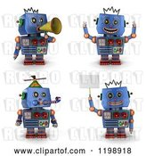 Clip Art of Retro 3d Blue Robot Toy in Four Poses 2 by Stockillustrations