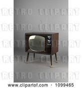 Clip Art of Retro 3d Box Television with Wood Veneer on Gray by Stockillustrations