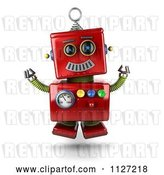 Clip Art of Retro 3d Excited Happy Jumping Red Metal Robot by Stockillustrations