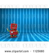 Clip Art of Retro 3d Friendly Red Robot Waving over Blue Stripes by Stockillustrations