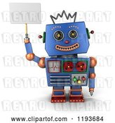 Clip Art of Retro 3d Happy Blue Robot Holding up a Sign by Stockillustrations