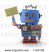 Clip Art of Retro 3d Happy Blue Robot Holding up an Envelope by Stockillustrations