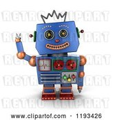 Clip Art of Retro 3d Happy Blue Robot Waving by Stockillustrations