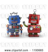 Clip Art of Retro 3d Happy Red and Blue Robot Friends by Stockillustrations