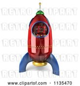 Clip Art of Retro 3d Happy Robot Astronaut in a Rocket by Stockillustrations
