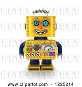 Clip Art of Retro 3d Happy Yellow Robot by Stockillustrations