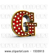 Clip Art of Retro 3d Illuminated Theater Styled Letter G, on a White Background by Stockillustrations