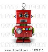 Clip Art of Retro 3d Neutral Faced Red Robot by Stockillustrations