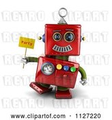 Clip Art of Retro 3d Red Metal Robot Holding a Party Sign by Stockillustrations