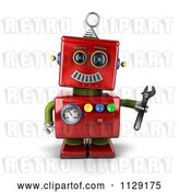 Clip Art of Retro 3d Red Repair Robot Holding a Wrench by Stockillustrations