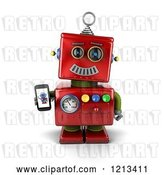 Clip Art of Retro 3d Red Robot Holding a Smart Phone with a Picture on the Screen by Stockillustrations