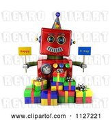Clip Art of Retro 3d Red Robot Holding Happy Bday Signs by Stockillustrations