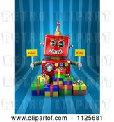 Clip Art of Retro 3d Red Robot Holding Happy Bday Signs over Gift Boxes on Blue Stripes by Stockillustrations