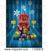 Clip Art of Retro 3d Red Robot Holding Merry X Mas Signs over Gift Boxes on Blue with Snowflakes by Stockillustrations