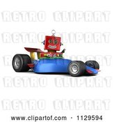Clip Art of Retro 3d Red Robot Waving and Driving a Race Car by Stockillustrations