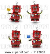 Clip Art of Retro 3d Red Robot Waving Jumping and Holding Flags by Stockillustrations