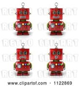 Clip Art of Retro 3d Red Robot with Different Emotional Expressions by Stockillustrations