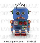 Clip Art of Retro 3d Sad Blue Robot Pouting by Stockillustrations
