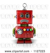 Clip Art of Retro 3d Sad Red Metal Robot by Stockillustrations
