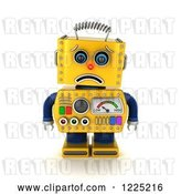 Clip Art of Retro 3d Sad Yellow Robot Pouting by Stockillustrations