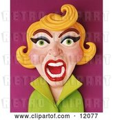 Clip Art of Retro 3d Screaming Blond Lady by Amy Vangsgard