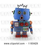 Clip Art of Retro 3d Surprised Blue Robot with an Open Mouth by Stockillustrations