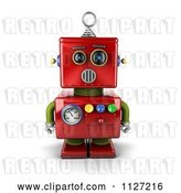 Clip Art of Retro 3d Surprised Red Metal Robot by Stockillustrations