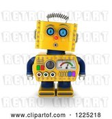 Clip Art of Retro 3d Surprised Yellow Robot by Stockillustrations